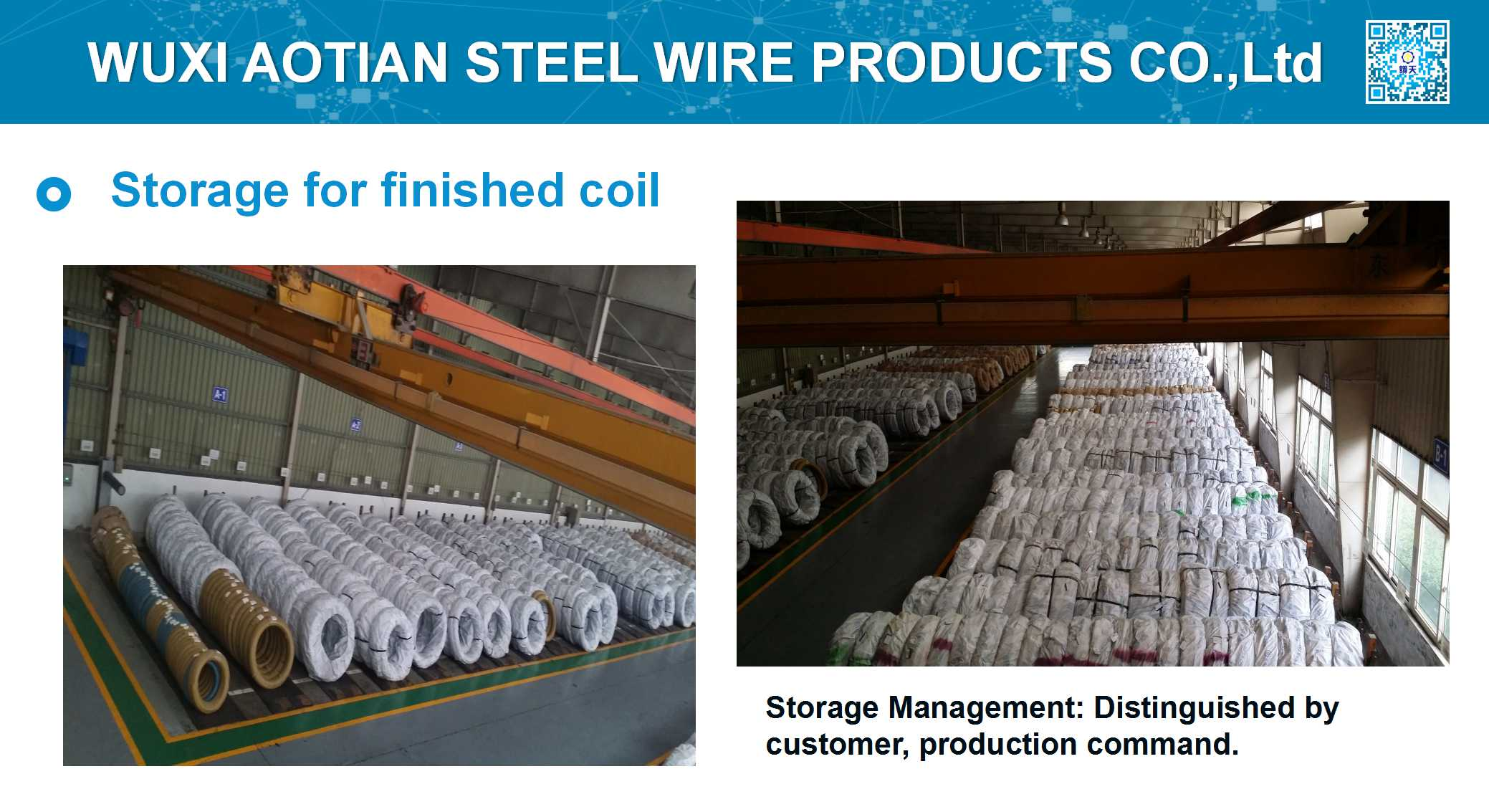 Storage of finished wire coil