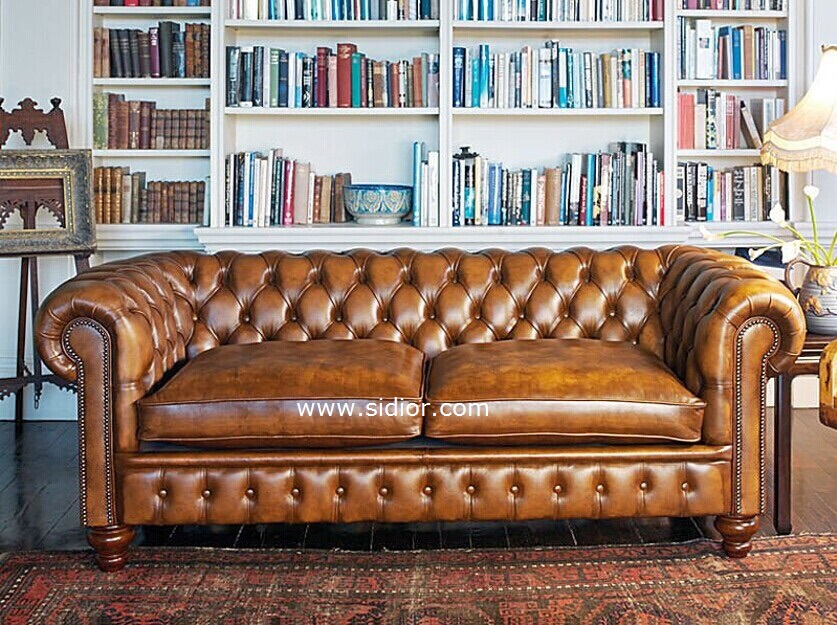 (SD-6008) Modern Living Room Hotel Leather Wooden Sofa
