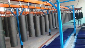 Painting line for idler rollers and frames