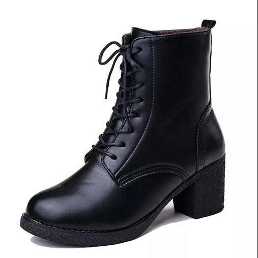 Leather Boots High Heels Platform Shoes Woman Ankle Boots