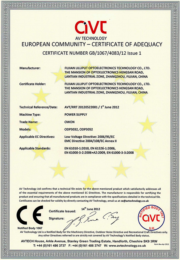 CE Certification of ODP series