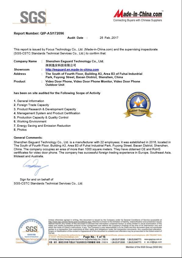 SGS Manufacturer Report