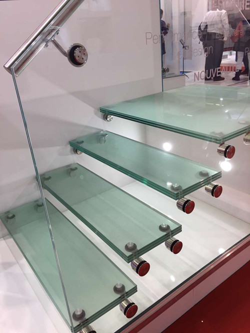 stainless steel glass support for stairs railing project in Paris