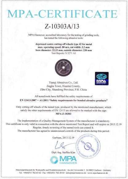 MPA CERTIFICATE ,EN12413