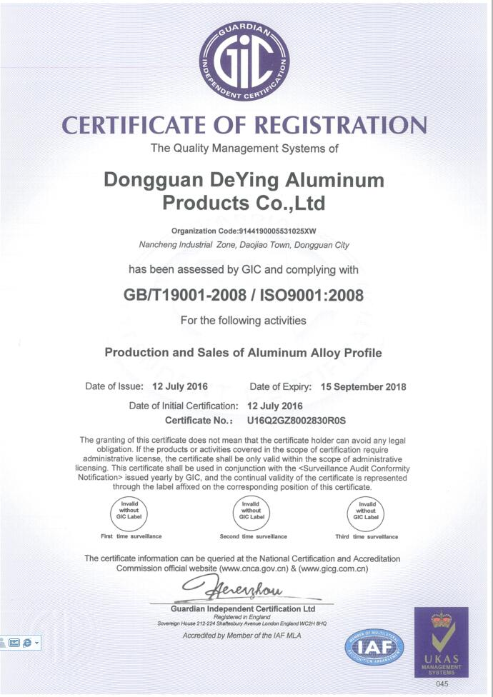 The ISO certificate
