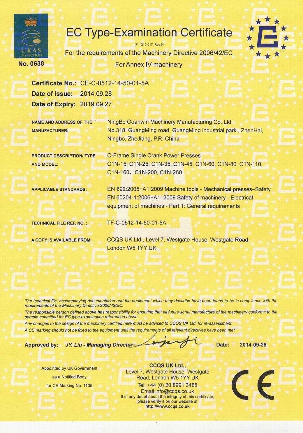 EC Type-Examination Certificate