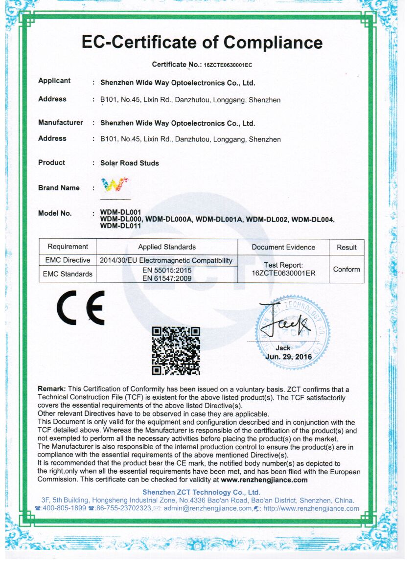 solar raod stud ECC certificate