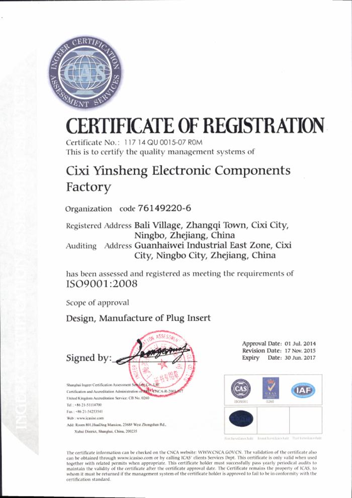 YYSR ISO Certificate