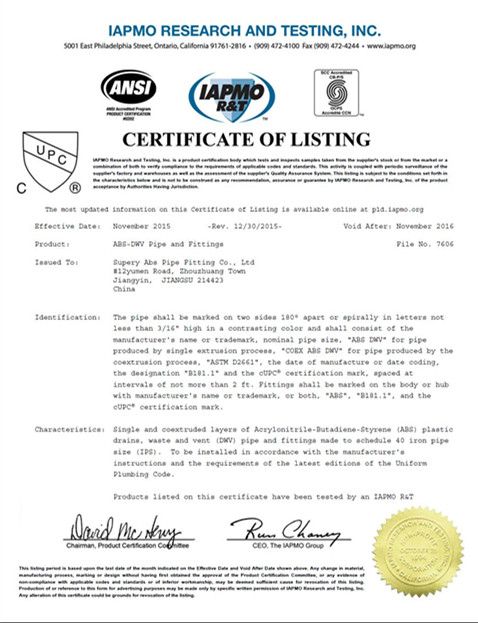 cUPC certificate for ABS DWV FITTING SCH40