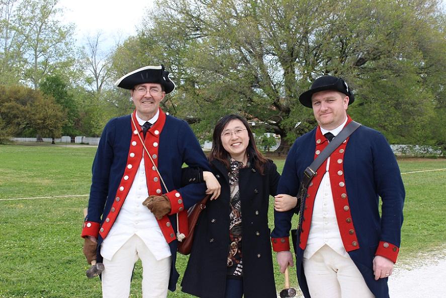 Yongmei at colonial Williamsburg of Virginia USA