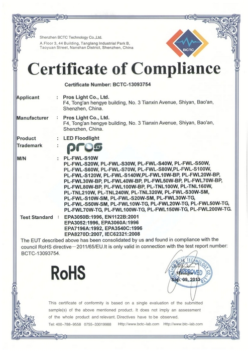 ROHS for led floodlight