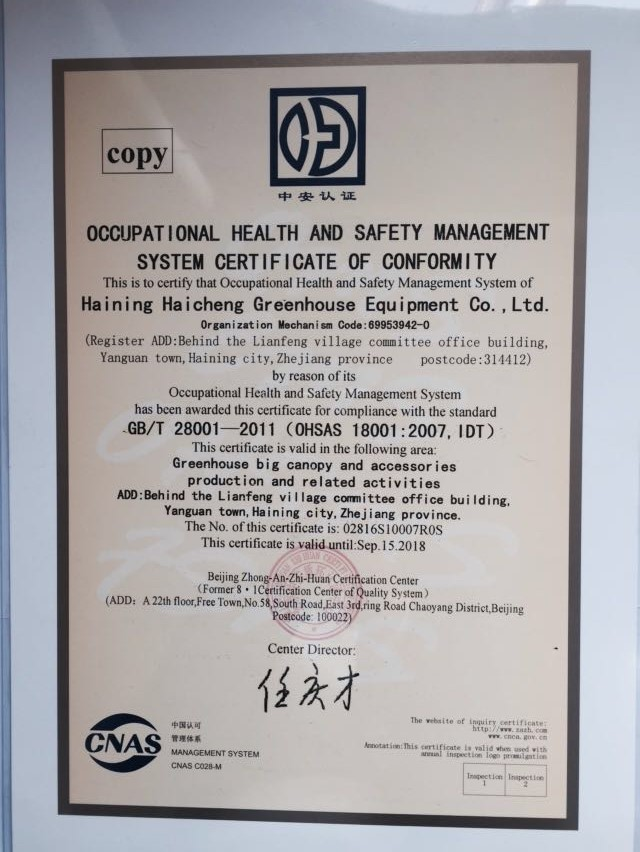OCCUPATIONAL HEALTH AND SAFETY MANAGEMENT SYSTEM CERTIFICATION OF CONFORMITY