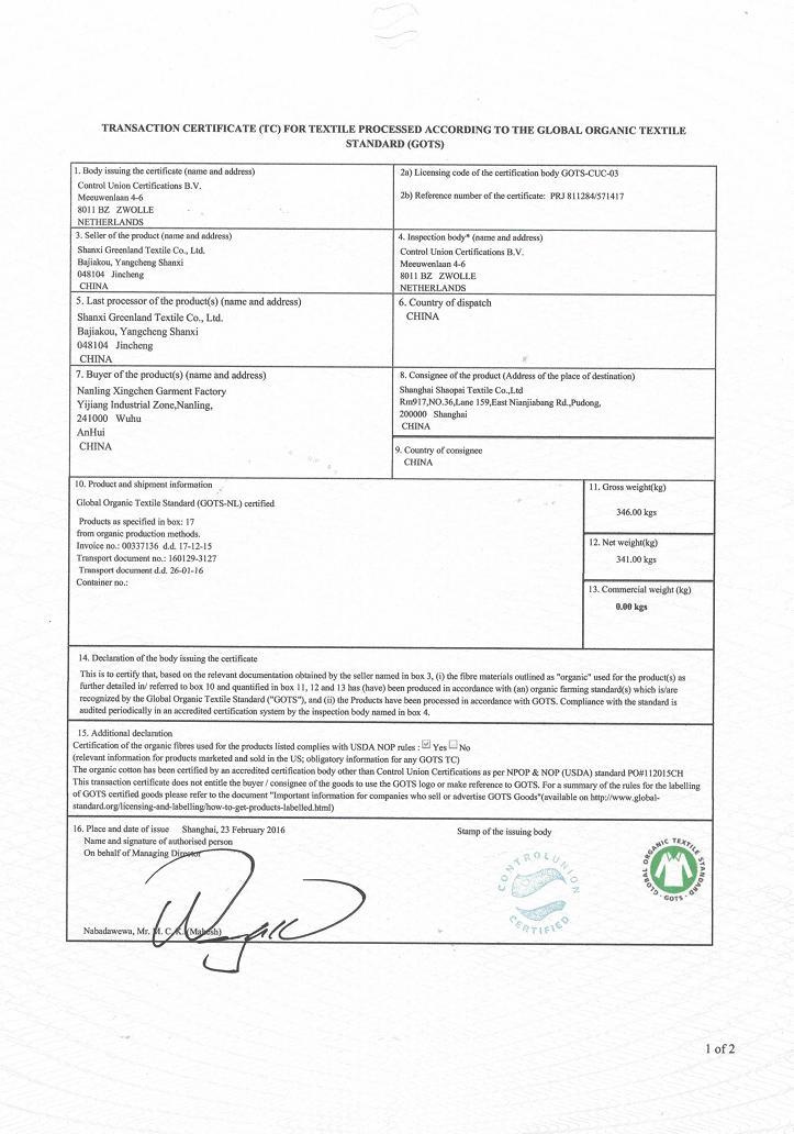 Organic Cotton Certificate