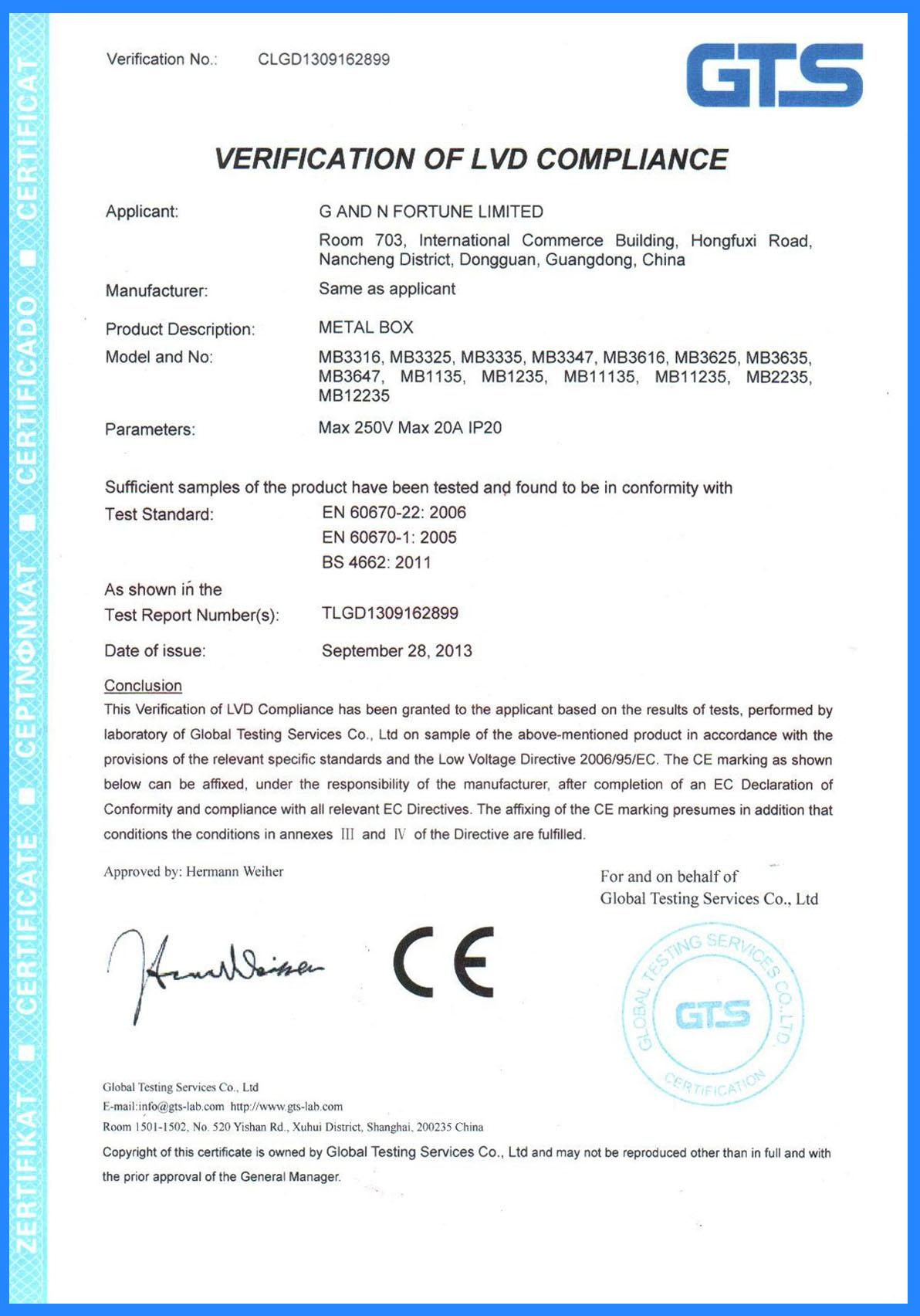 CE Certificate for Metal Box