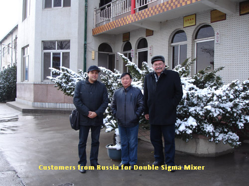 Customers from Russia for 400L and 1000L Screw ExtruderDouble Sigma Mixer