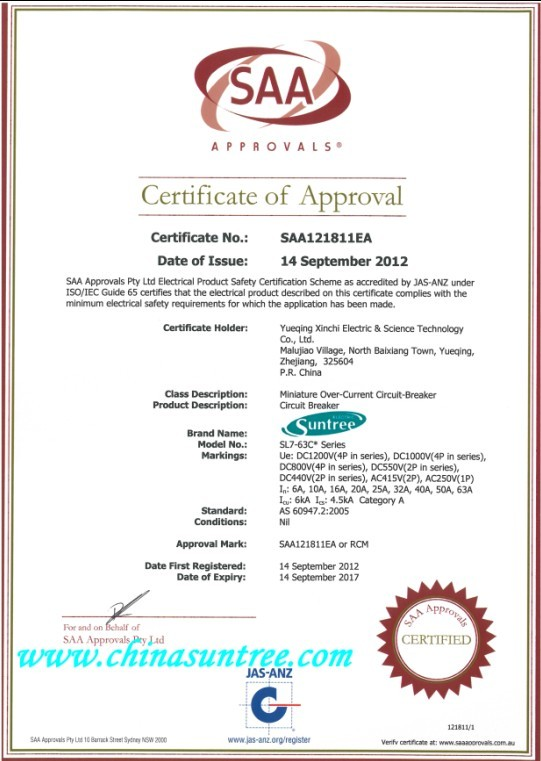 DC miniature circuit breaker SAA certificate