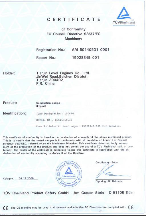 Perkins Diesel Engine Certification
