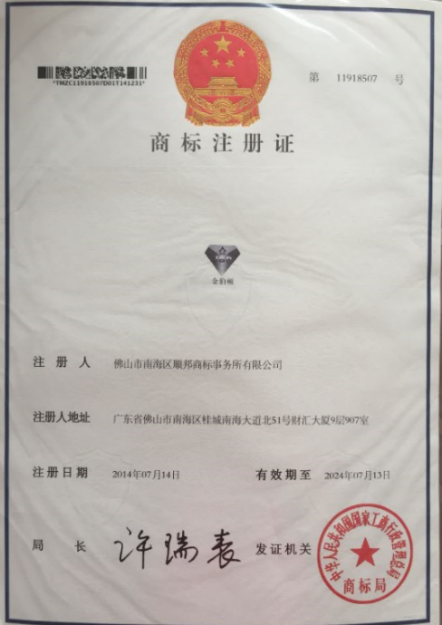 JBD brand registration certificate