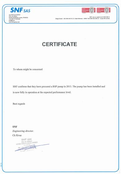 Customer Letter from France SNF Customer