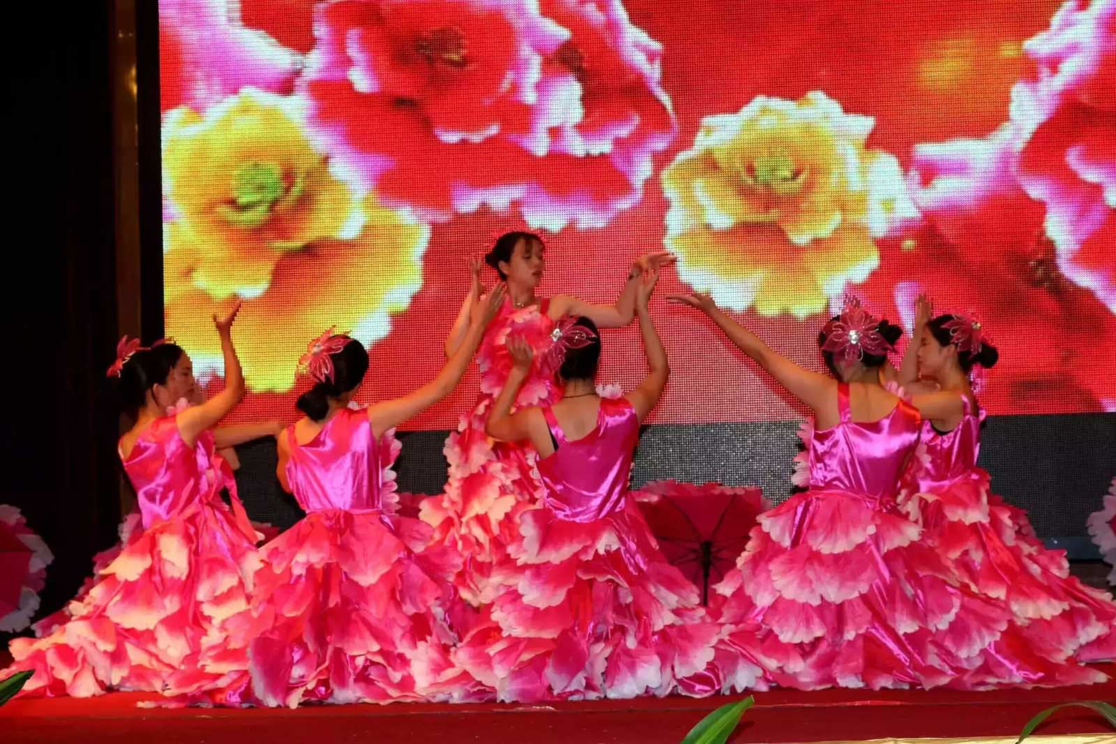 Female employee perform dancing