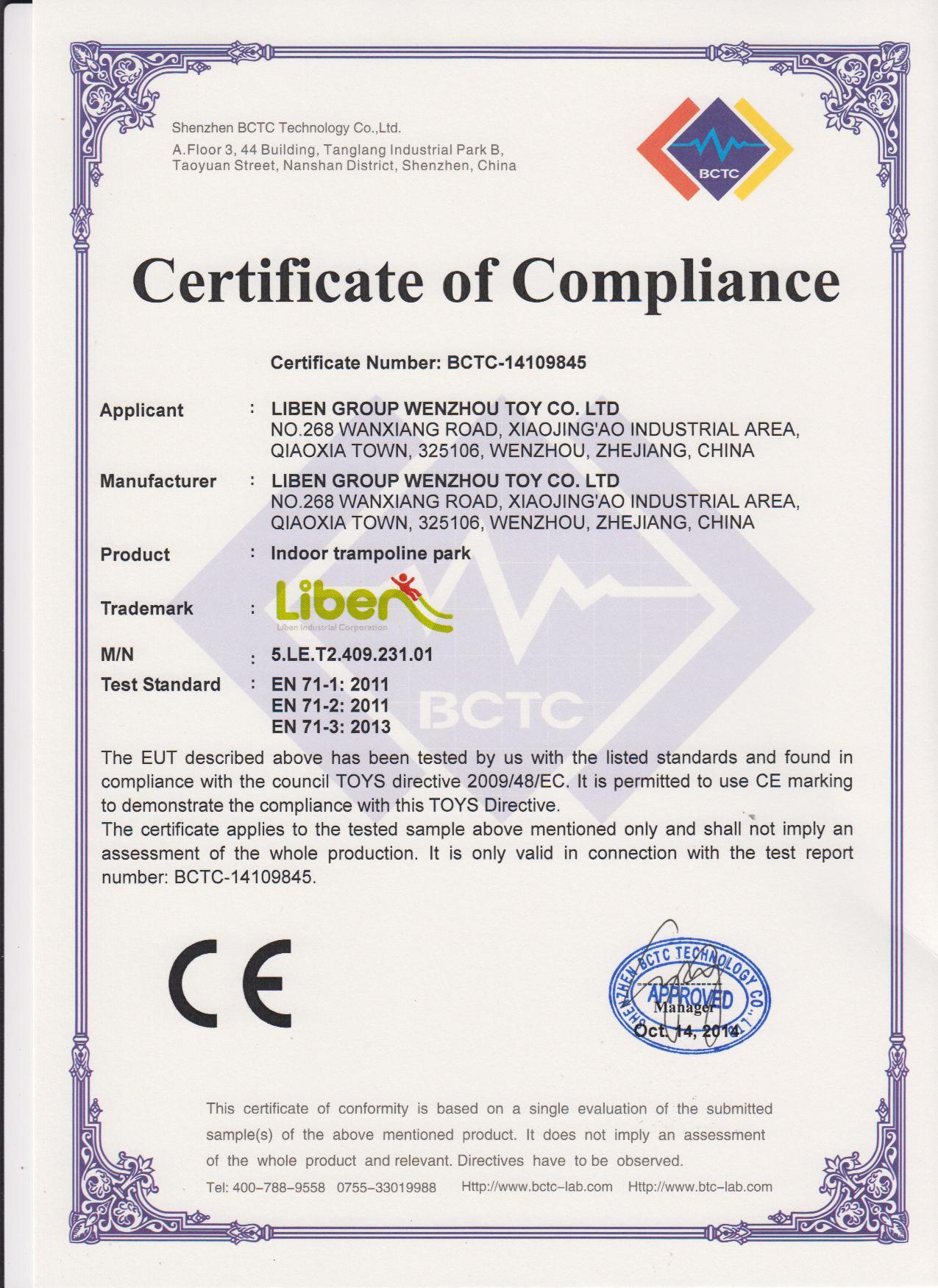 CE Certificate for trampoline