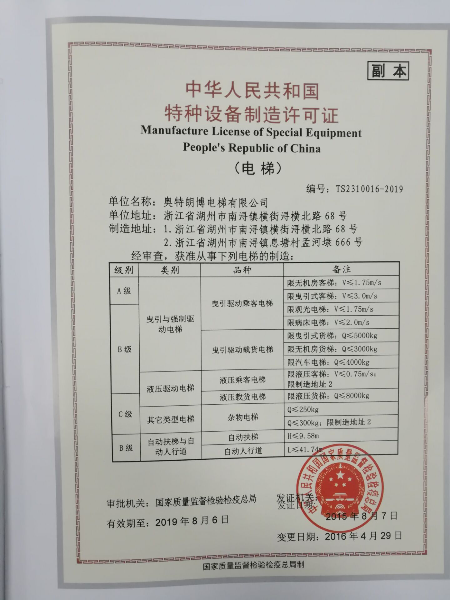 Manufacture Licence of Special Equipment People's Republic of China