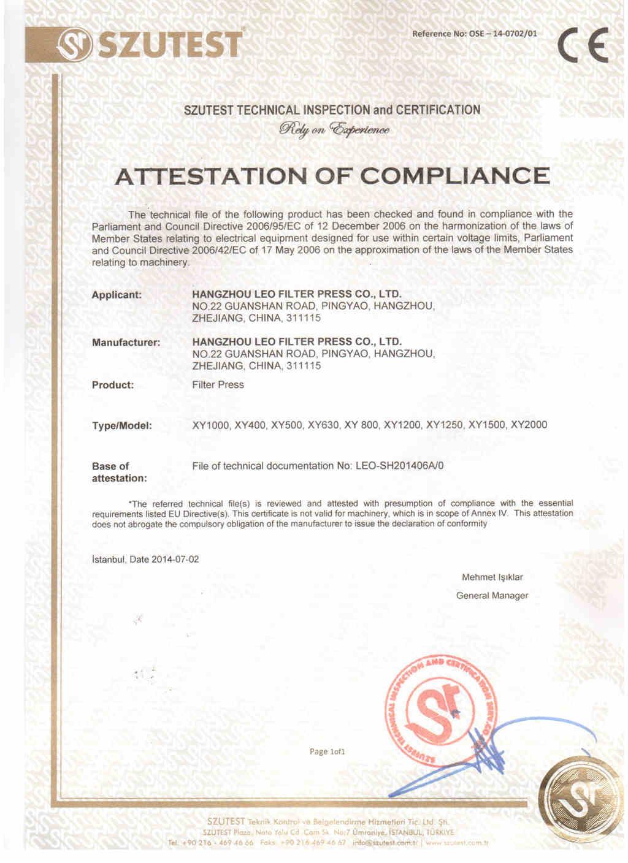 Leo Filter Press CE Certificate