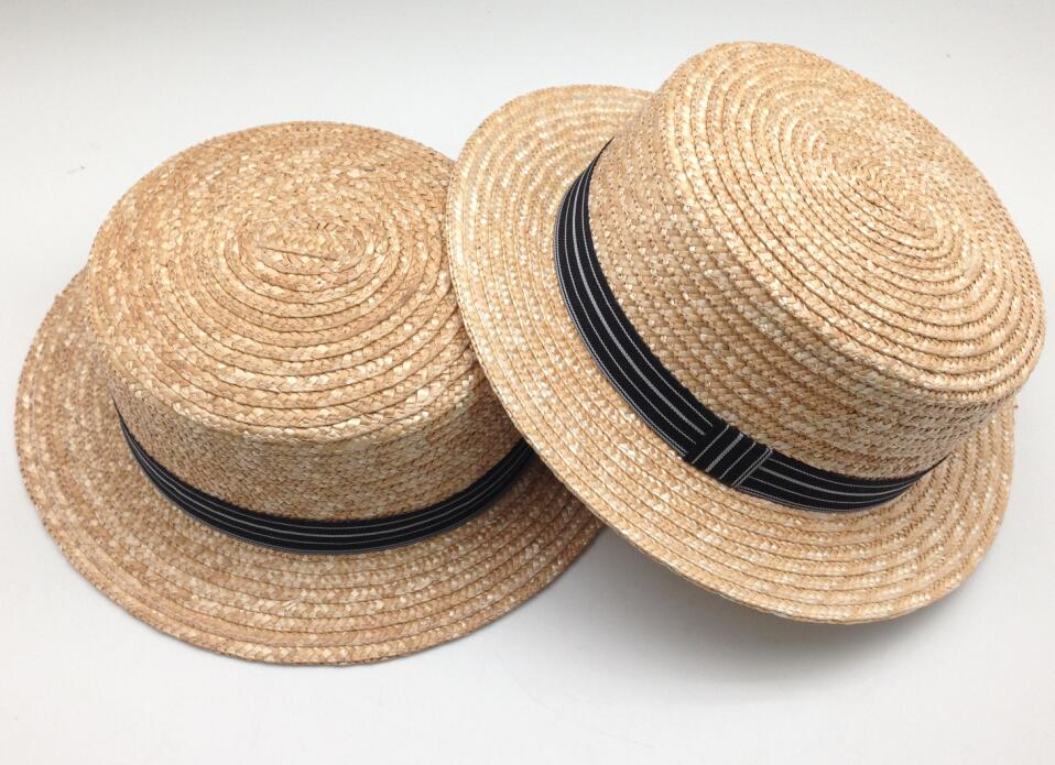 High Quality Canotier Boater Wheat-Straw Hats With Ribbon