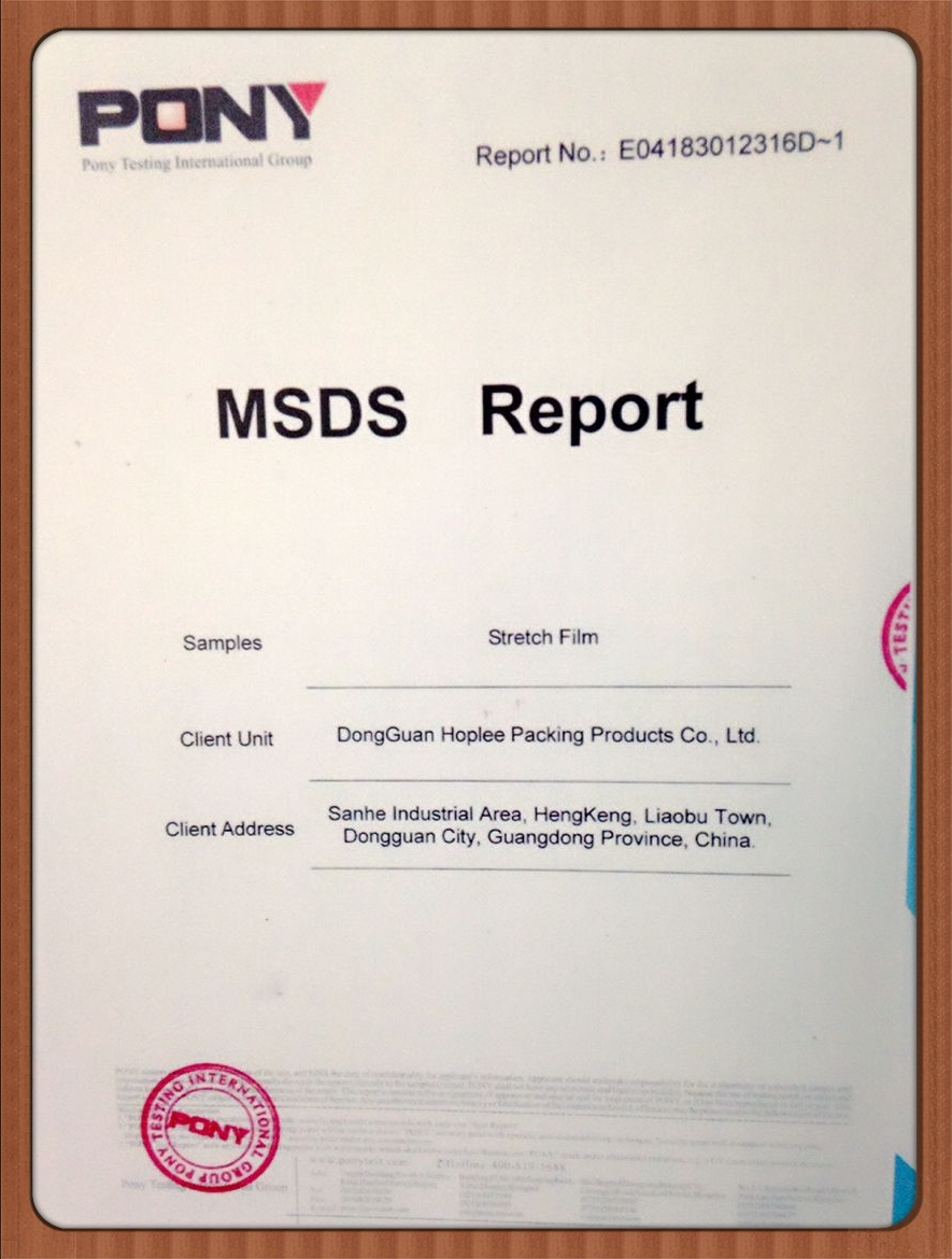 MSDS(Pony) certificate