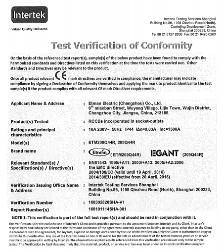 CE certificate for RCCB