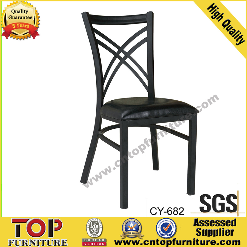 Elegant Imitate wood metal restaurant dining chair