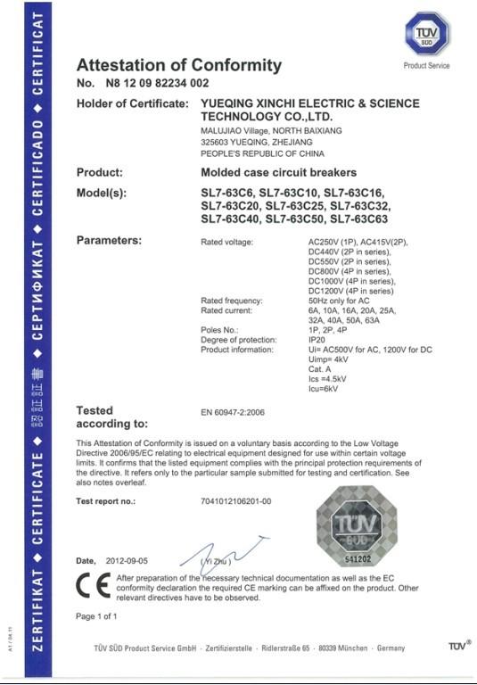 CE certificate for SL7 dc circuit breaker