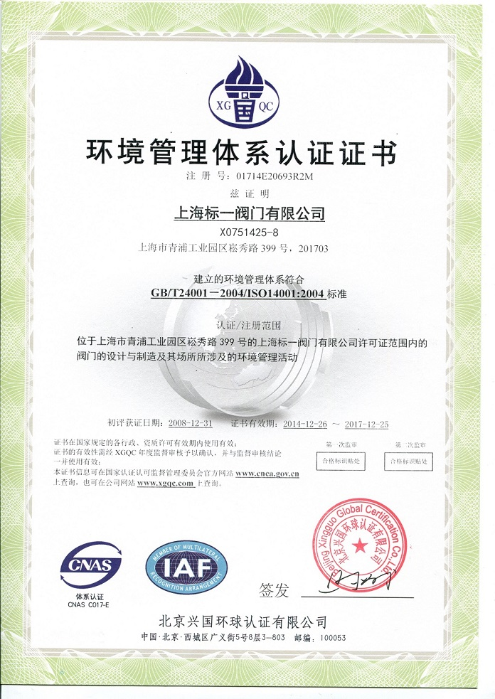 High level Management Certificate -- ISO 14000