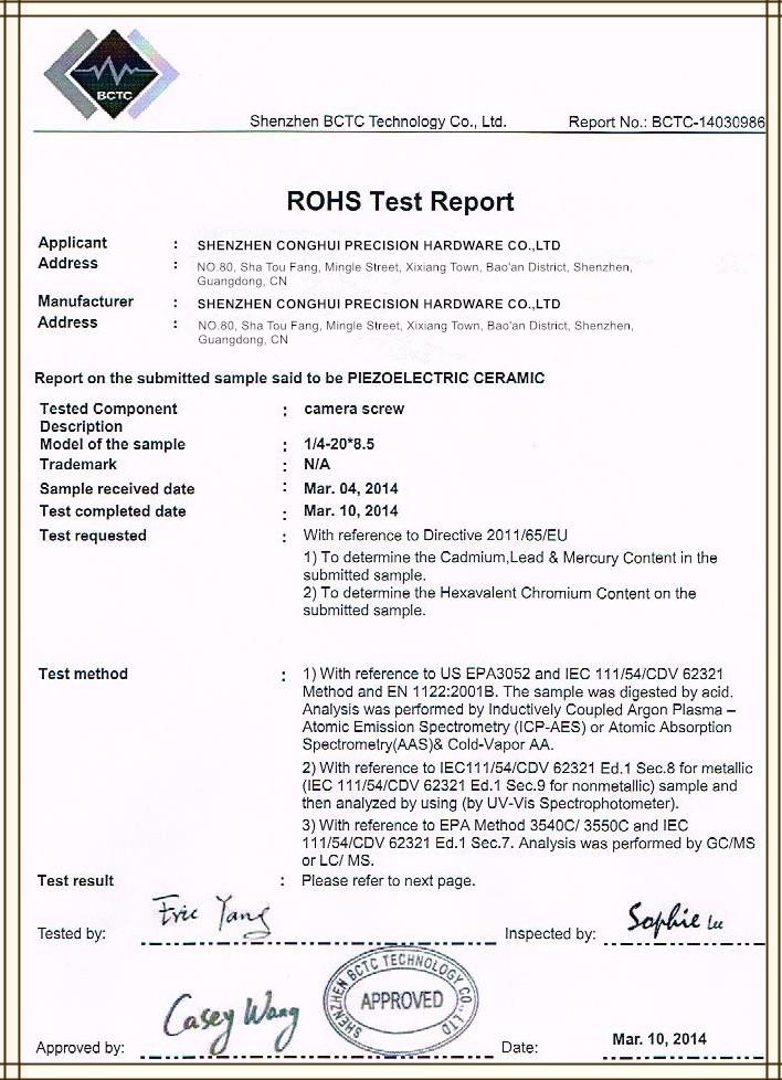 Certificate for camera screw