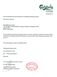 Authorization letter by Carlsberg