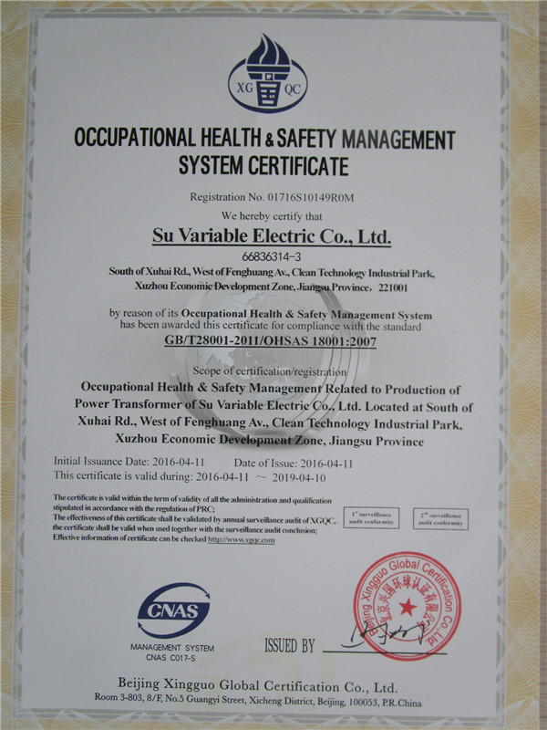 Certificate of OHSAS18001