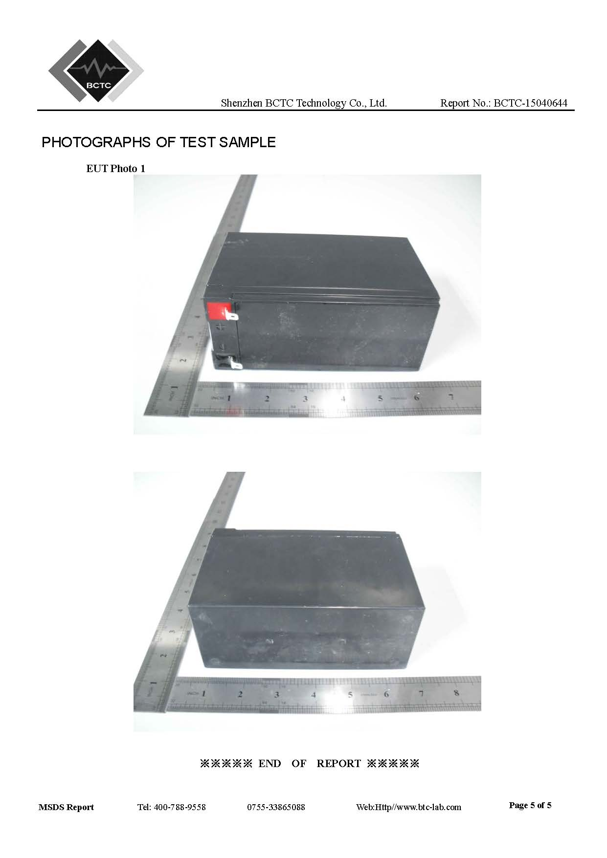 MSDS FOR BATTERY 5