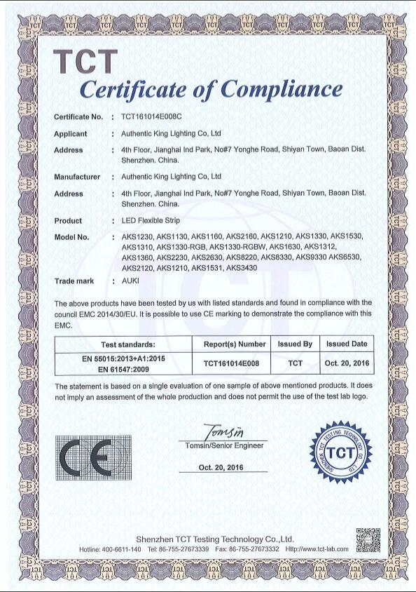 CE certifiations for the LED strip