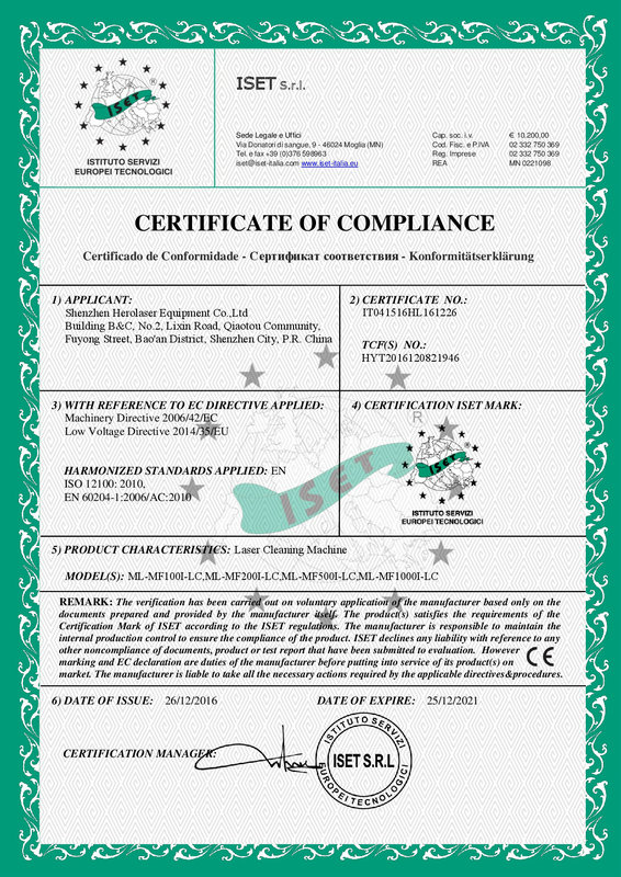 CE Certificate of Laser Cleaning Machine