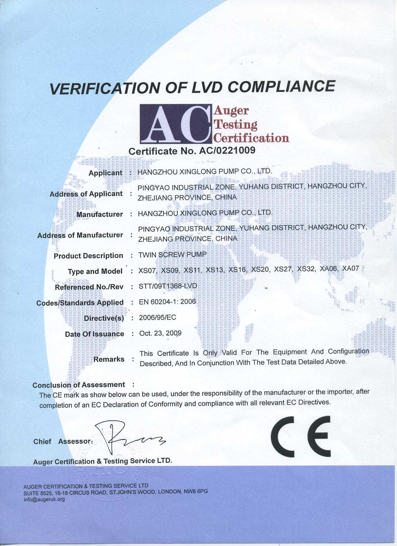 CE Certificate of Twin Screw Pump