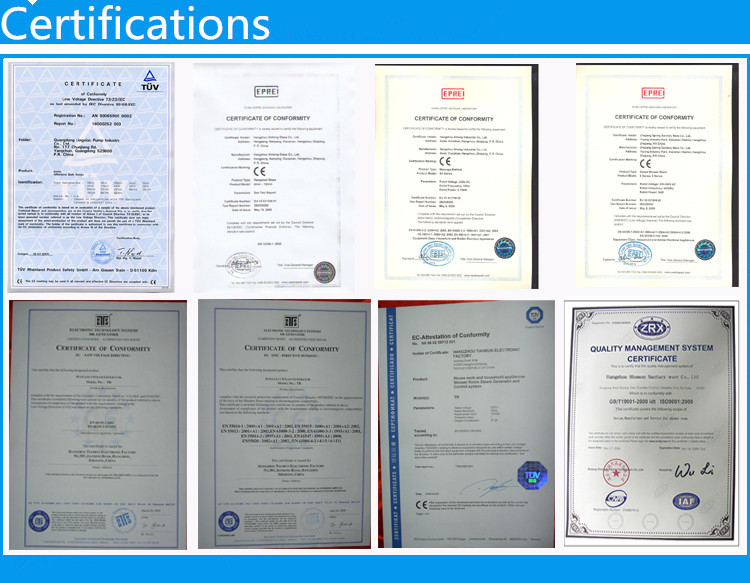 Certificates of Shower Rooms