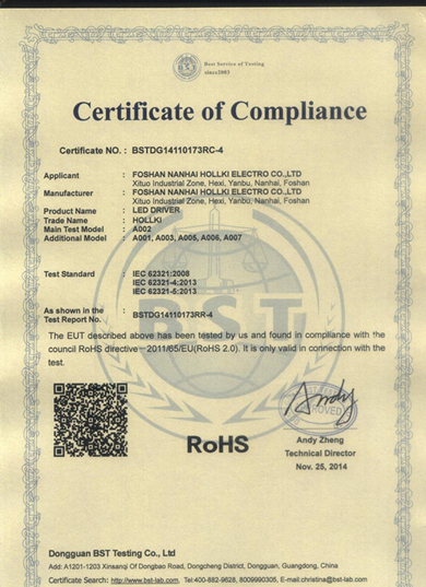 RoHS Certificate for LED Driver