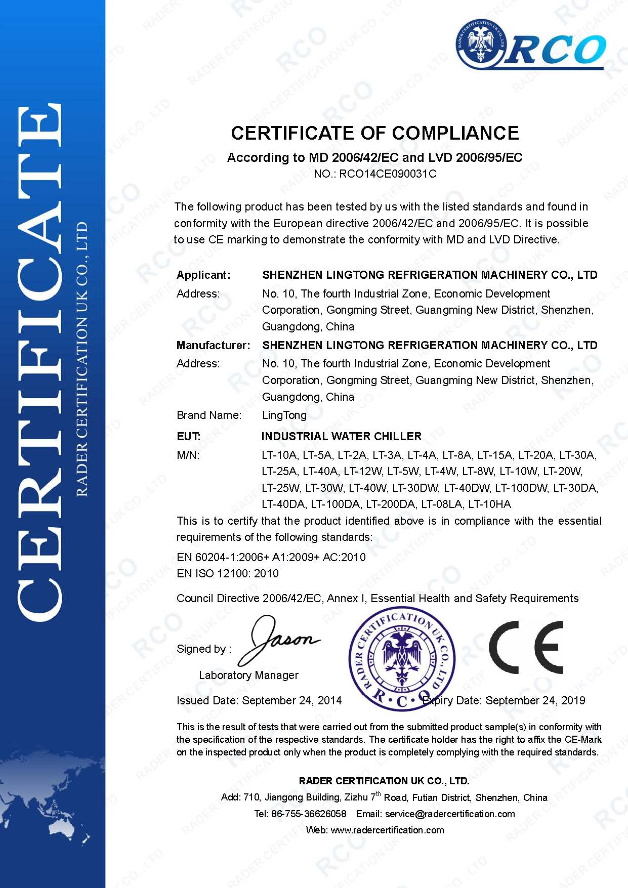 CE certification of industrial water chillers