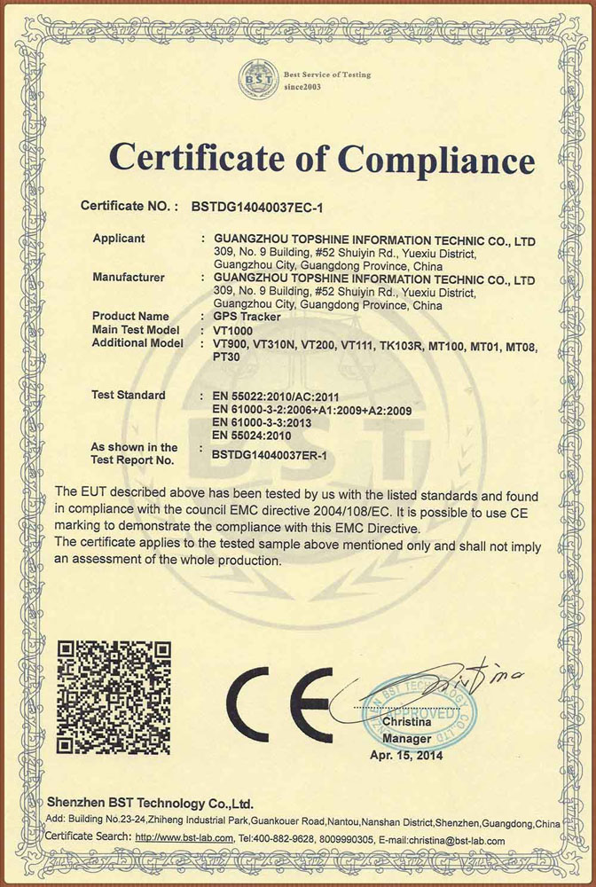 CE Certificate of GPS Tracker