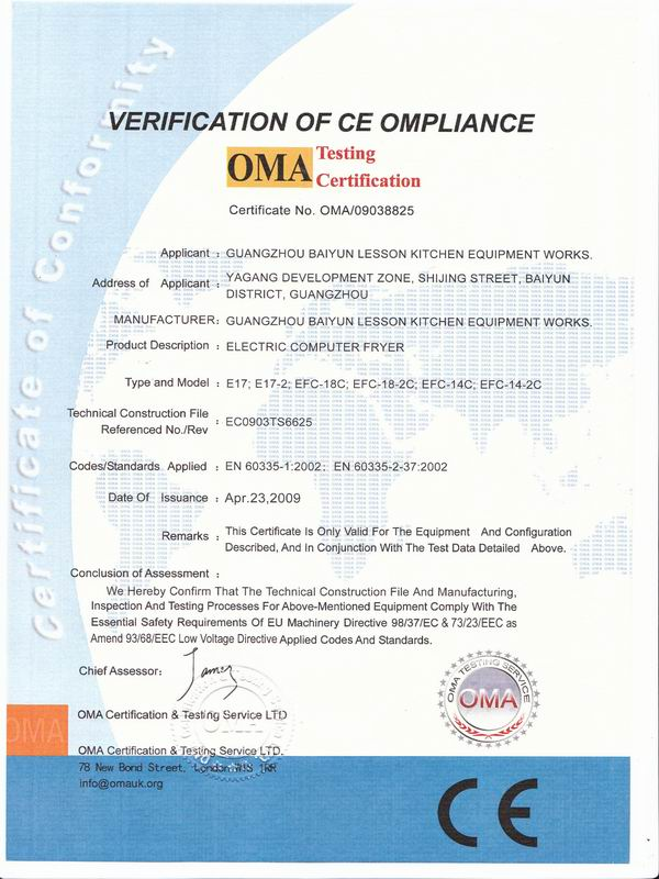 VERIFICATION OF CE OMPLIANCE FOR FRYER