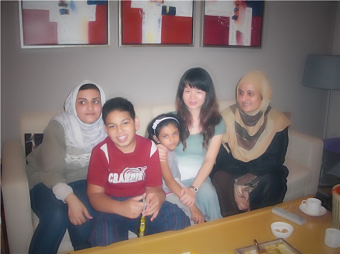 with customer's family