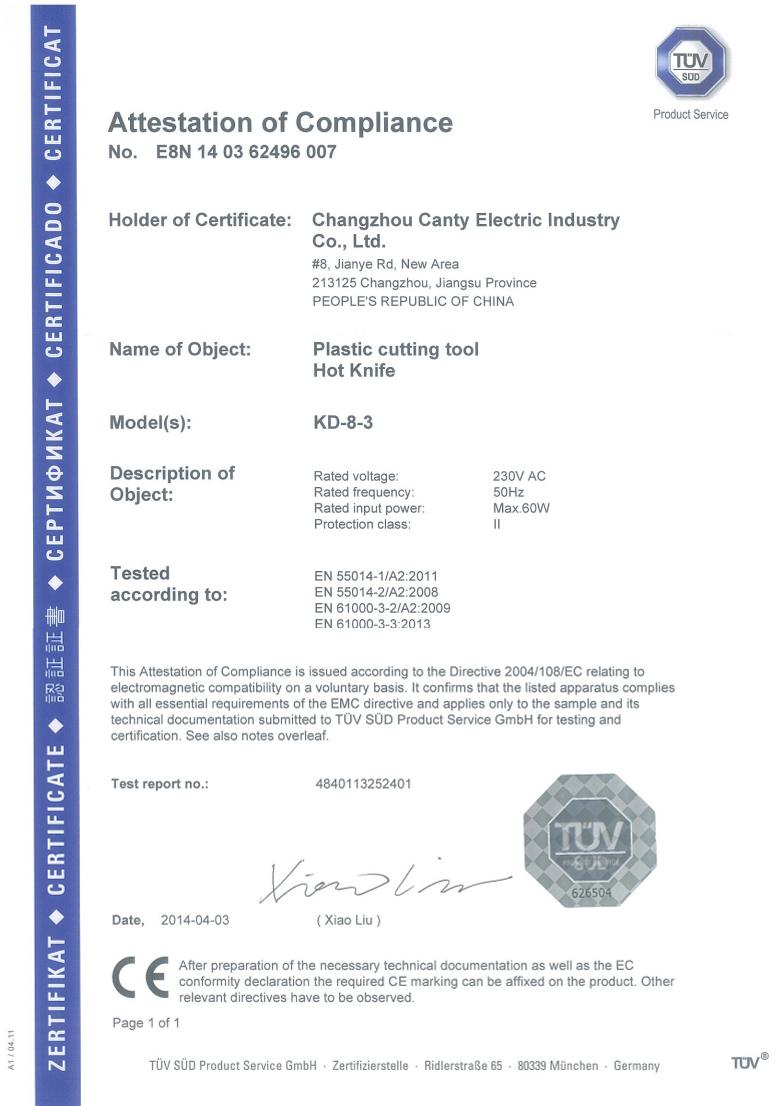 CE Certificate of KD-8-3