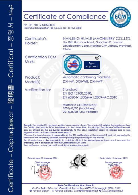 Cartoning machine CE