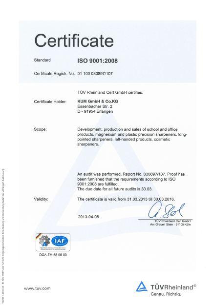 KUM ISO certificate