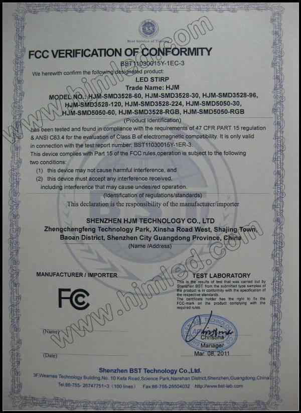 HJM LED Stirp FCC Certification